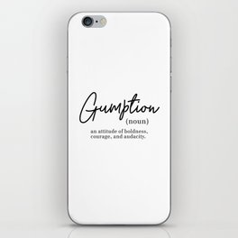 Gumption Definition - Word Nerd - Black Minimalist iPhone Skin