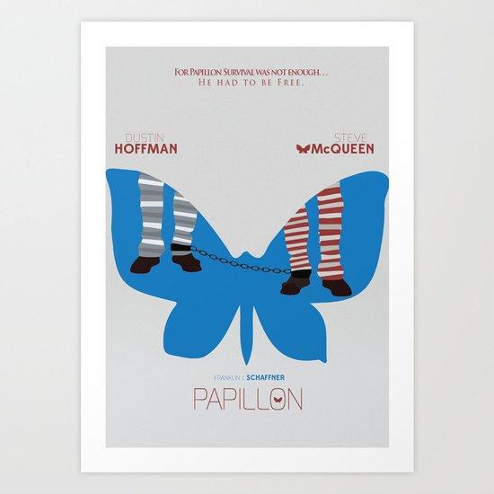 Papillon, Steve Mcqueen, Dustin Hoffman, Alternative, Movie Poster, classic film, old film, minimal Art Print