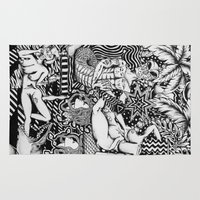 bisexual Area & Throw Rugs featuring Psychedelic Visions of the Bisexual Shaman Chicks by cahill wessel