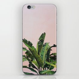 Tropical Palm leaves on pink iPhone Skin