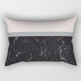 Grey Black Marble Meets Romantic Pink #1 #decor #art #society6 Rectangular Pillow