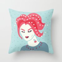 Portrait Of A Girl With Pink Hair Throw Pillow