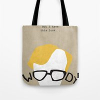 woody Tote Bags featuring Woody by Geminianum