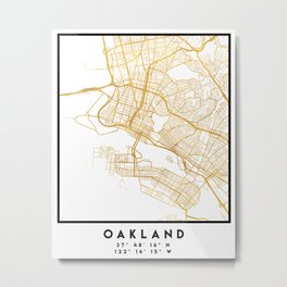 OAKLAND CALIFORNIA CITY STREET MAP ART Metal Print