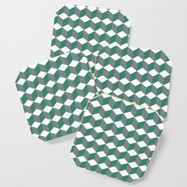 Diamond Repeating Pattern In Quetzal Green and Grey Coaster