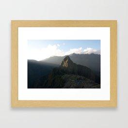 Sun setting on Machu Picchu and Huayna Picchu Framed Art Print