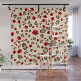 Romantic Leopard Print Pattern with Red Flowers Wall Mural
