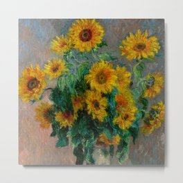 "Claude Monet ""Bouquet of Sunflowers"" Metal Print"