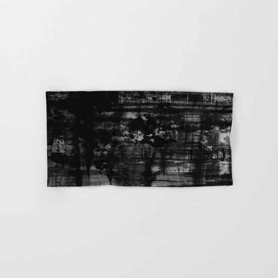 Into the Night - Black & White, textured abstract Hand & Bath Towel