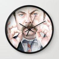 swanson Wall Clocks featuring Swanson Mustache by Olechka