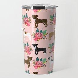 Pitbull Terrier flowers cute dog art pet portraits custom dog breed must have pitbull owner gifts Travel Mug