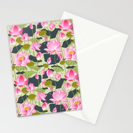 pond of pink lotuses Stationery Cards