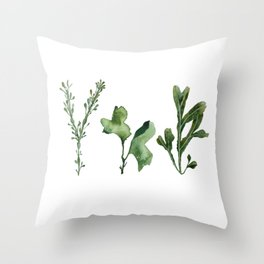 Trio of Green Seaweed Watercolor Throw Pillow