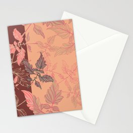 Tomatoes leaves in coral Pantone palette Stationery Cards