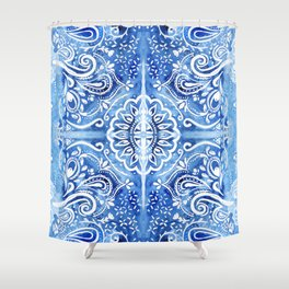 Batik Blue and White Mandala Shower Curtain