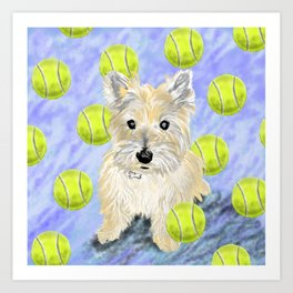 Miss Caroline the Cairn Terrier is Obsessed About Fetching Tennis Balls Art Print