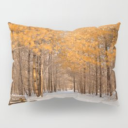 Gold Winter Pine Forest Trail Pillow Sham