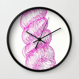 pink yarn Wall Clock
