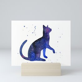 Galaxy Cat Watercolor Mini Art Print