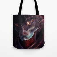 mass effect Tote Bags featuring Mass Effect: Javik by Ruthie Hammerschlag