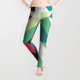 Colorful Shapes Texture, Retro Style, Leggings