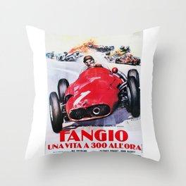 Fangio, Race poster, Vintage poster, F1 poster Throw Pillow
