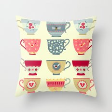Tea Cups Throw Pillow