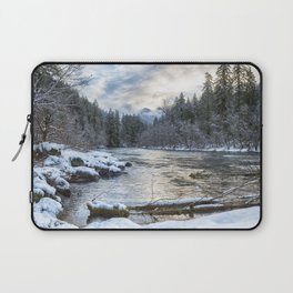 Morning on the McKenzie River Between Snowfalls Laptop Sleeve