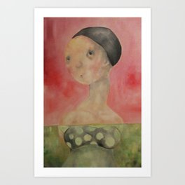 Pink Lady Swiming Art Print