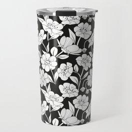 Black & white Floral Print Pattern Travel Mug
