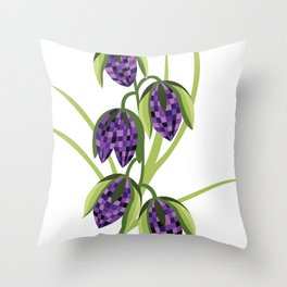 Purple abstract flower Throw Pillow