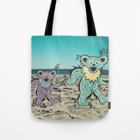 grateful dead Tote Bags featuring Grateful Dead Beach Cruise by Charlotte hills