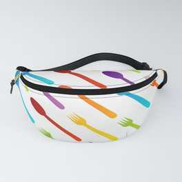 Vintage silverware or colorful spoons and forks Fanny Pack
