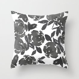 Grey Inky Watercolor Flowers Throw Pillow