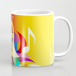 Colorful music instruments with guitar, trumpet, musical notes, bass clef and abstract decor Coffee Mug