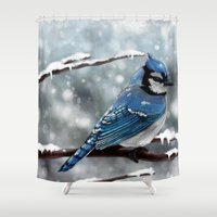 jay z Shower Curtains featuring Blue Jay by Ben Geiger
