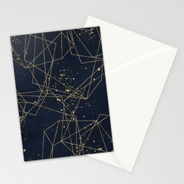 Geometric hand drawn on navy background with paint splashes. Abstract gold polygonal geometric shapes, golden glitter with triangles, geometric, diamond shapes. Stationery Cards