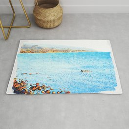 Seascape with boat Rug