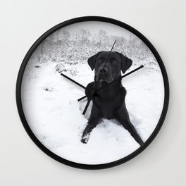 Black Labrador in the snow Wall Clock