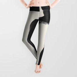 Mid Century Modern Minimalist Abstract Art Brush Strokes Black & White Ink Art Ancient Stripes Leggings