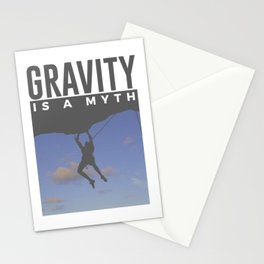 Gravity Is A Myth Rock Wall Climbing Stationery Cards