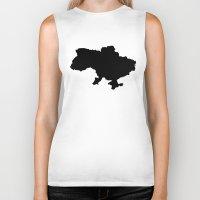 ukraine Biker Tanks featuring UKRAINE SIMPLE MAP by DEAD RINGER DESIGN