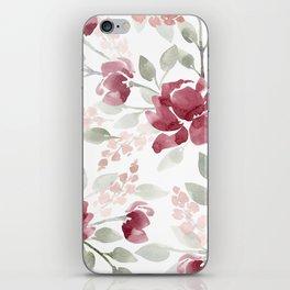 Burgundy Watercolor Floral iPhone Skin