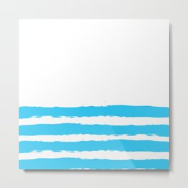 Simply hand-painted teal stripes on white background - Mix & Match Metal Print