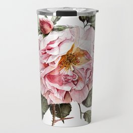 Wilting Pink Rose Watercolor Travel Mug