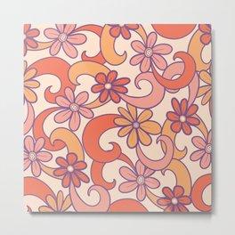 Girly Retro Pink Orange Groovy Flowers Metal Print