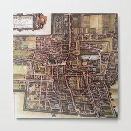 Replica city map of The Hague 1649 Metal Print