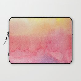 Hand painted abstract violet pink yellow watercolor paint Laptop Sleeve