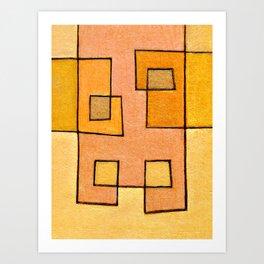 Protoglifo 04 'yellow hugging pink' Art Print