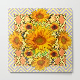 Western Style Lilac Color Golden Sunflowers Gold Pattern Art Metal Print